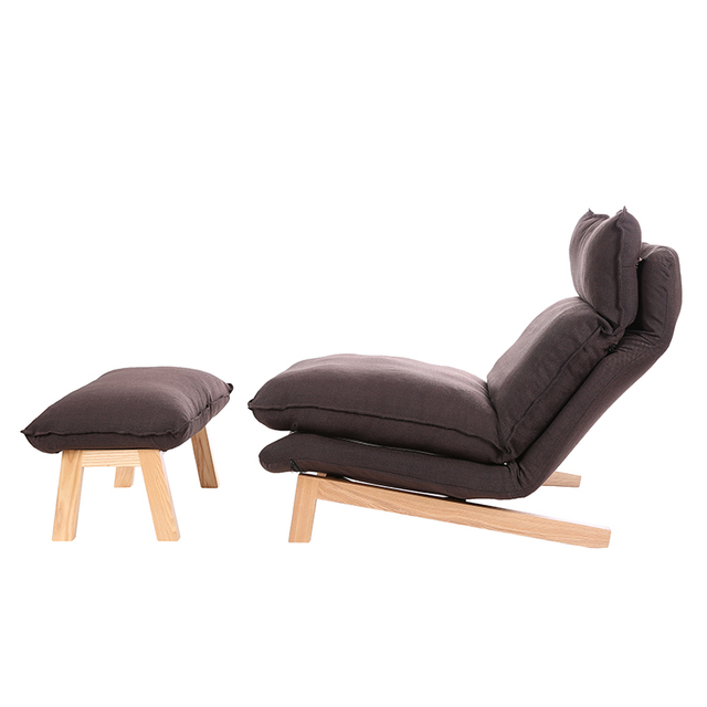 Modern Chaise Lounge Chair And Ottoman Set With Wooden Legs Living Room Furniture Fabric Upholstery Recliner