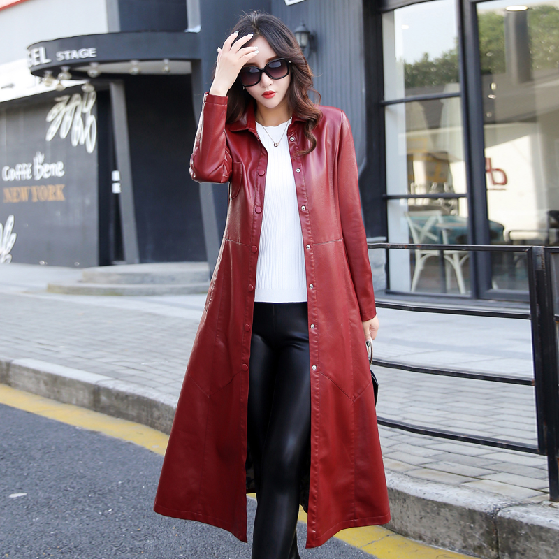 Women's   Leather   Jacket 2019 Winter New M-5XL X-Long   Leather   Jacket Women Fashion Solid Turn Collar Single Breasted Coat Female