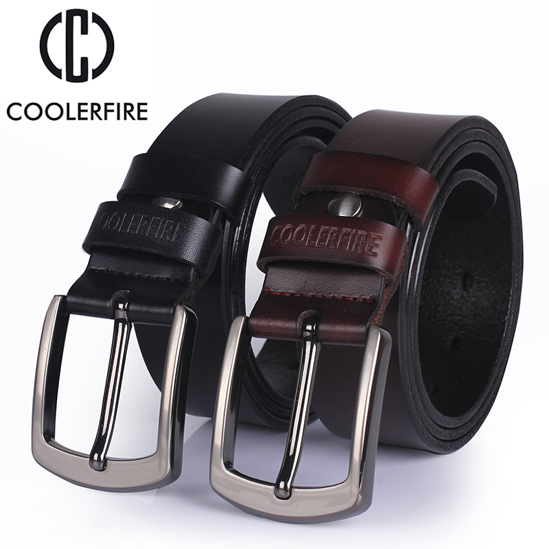 Ccoolerfire High qualit genuine leather belt 2017 new luxury designer men belts cowskin fashion buckle for jeans freeshipping