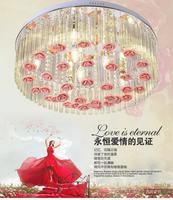 Круговой атмосфера гостиной кристалл освещение творческий изменение цвета спальня потолочный светильник цветок свадьба комната теплый led