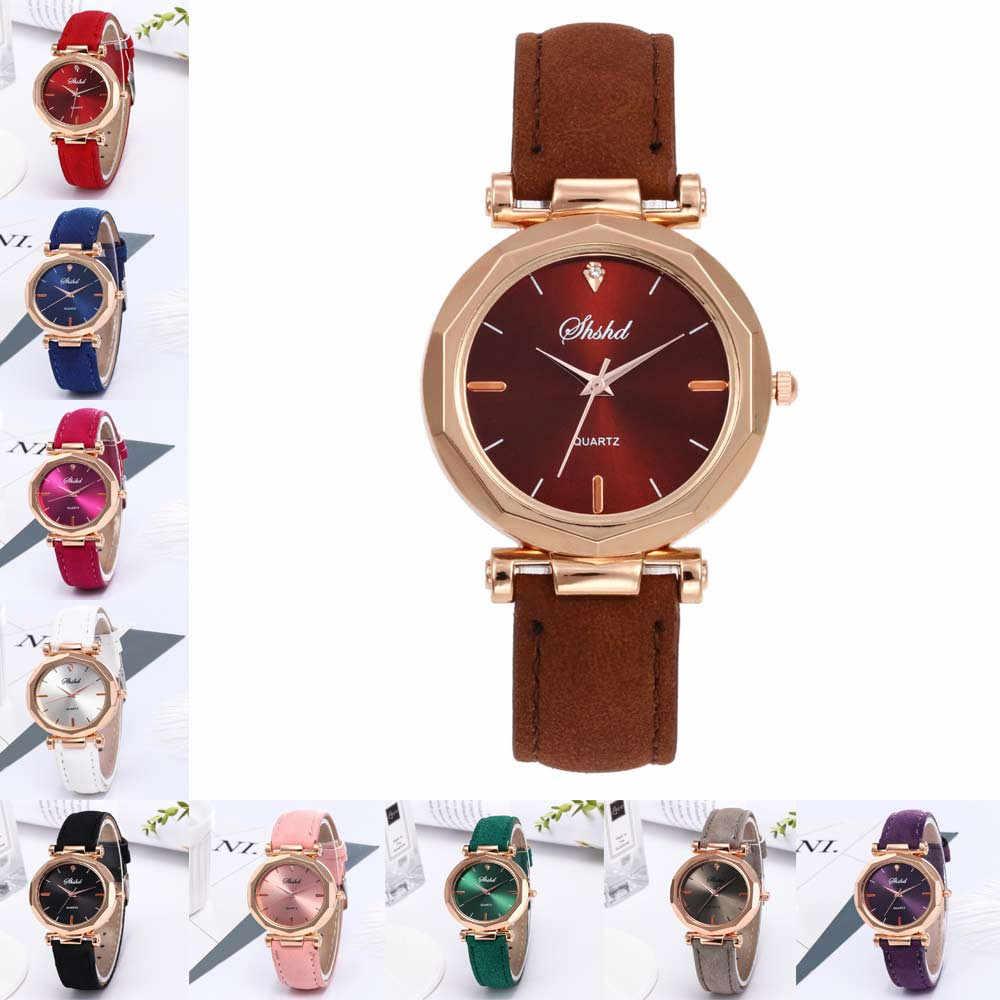 2019 Wanita Jam Tangan Top Brand Mewah Kasual Kulit Bulat dengan Berlian Imitasi Paduan Berkualitas Tinggi Kuarsa Pesona Reloj Mujer