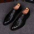 Patrón del cocodrilo hombres ocasionales vestidos del banquete de boda zapatos de cuero genuino transpirable comodidad plana zapato con cordones zapatos oxfords