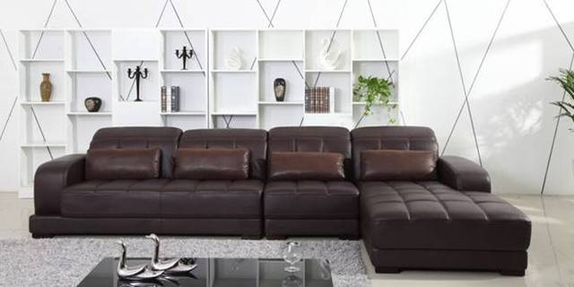 Elegant Free Shipping Classic Coffee Color Top Grain Leather Sofa, L Shaped  Sectional Sofa Set 3.7