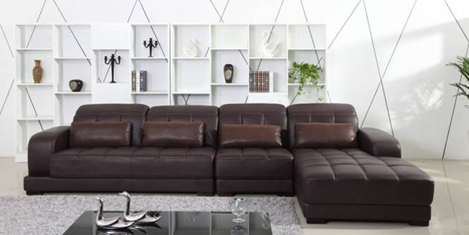 Awesome Free Shipping Classic Coffee Color Top Grain Leather Sofa, L Shaped Sectional  Sofa Set 3.7M Length House Furniture On Sale E308