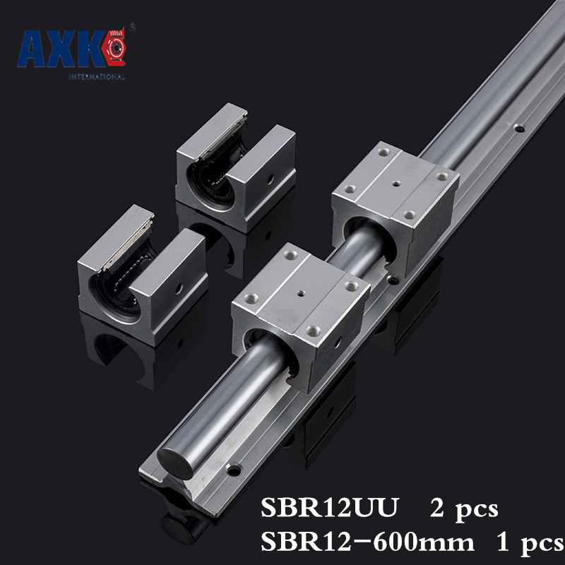 2018 New Linear Rail Axk Axk Free Shipping Sbr12 12mm Rail Length 600mm Linear Guide With 2pcs Sbr12uu Set Cnc Router Part 10pcs lot free shipping sbr12uu 12mm linear ball bearing block cnc router sbr12 linear guide