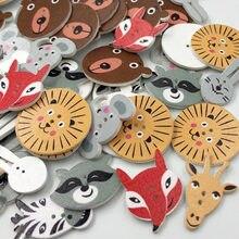 50 pçs 2 buracos animais em forma de botões de madeira artesanato diy scrapbooking botões de costura decorativos para decoração de roupas wb237