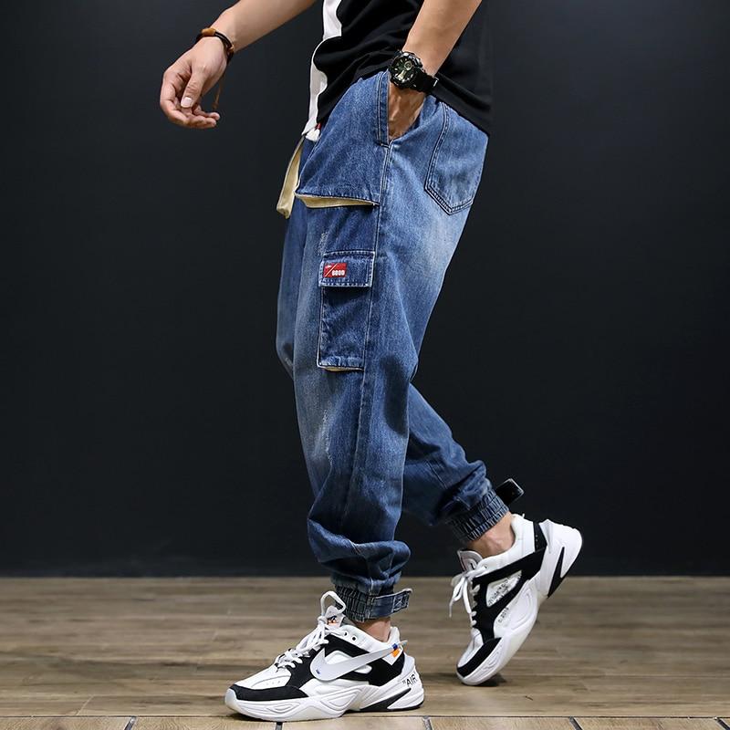 Fashion Streetwear Men Jeans Blue Color Loose Fit Multi-Pockets Cargo Pants Slack Bottom Harem Trousers Hip Hop Jogger Jeans Men