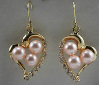 Latest Round Shell Pearl With Heart Shape Stud Earring ER00053 8mm