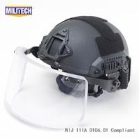 MILITECH черный BK морской с Deluxe NIJ IIIA БЫСТРО Пуленепробиваемый Шлем и козырек Набор Дело Защитный Шлем пуленепробиваемые маска