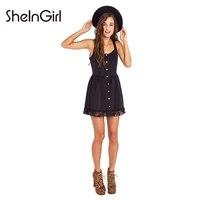 SheInGirl Lace Contrast Black Dress Women Single Breasted Sleeveless Basic Mini Dress Ladies Casual Cute OL