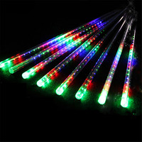 Security LED Meteor Shower Rain Lights 30cm 50cm 8 Tube Drop Icicle Snow Falling Rain Light