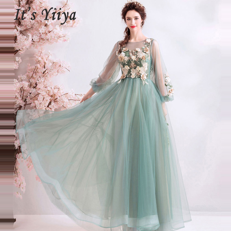 Prom Gowns O neck Full Sleeves A Line Floor Length dresses women party night vestidos de gala Plus Size Prom Dresses 2019 E243 in Prom Dresses from Weddings Events