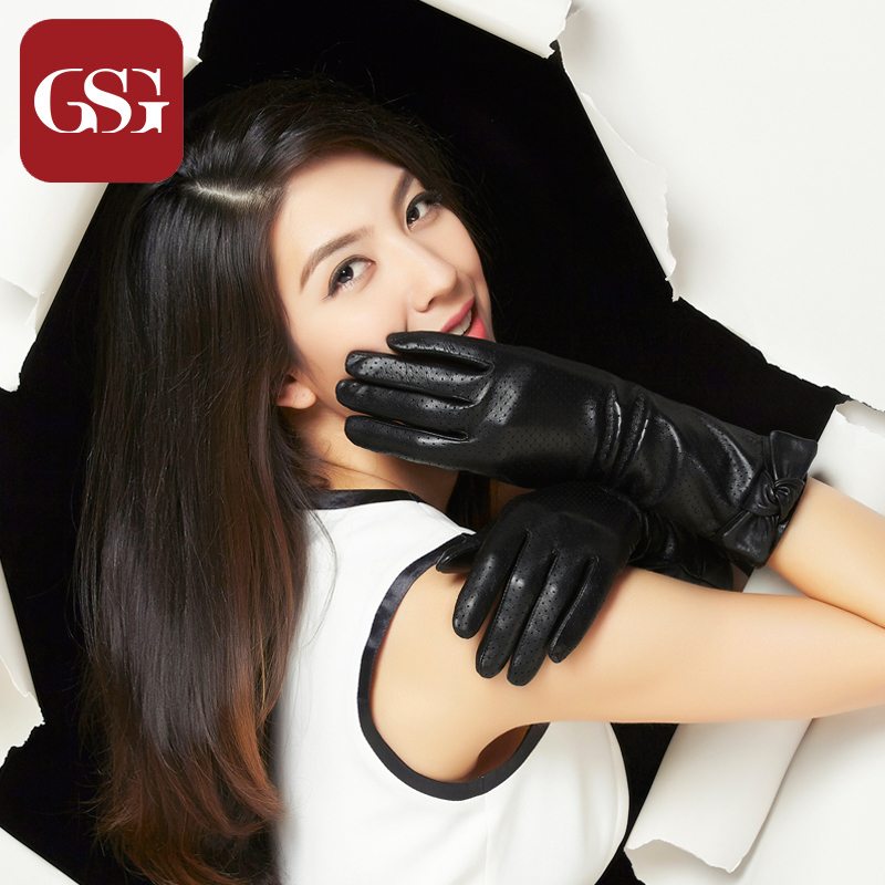 2014 NEW style fashion GSG genuine lether black long gloves arm warmer lambskin winter glove with bow breathable mesh