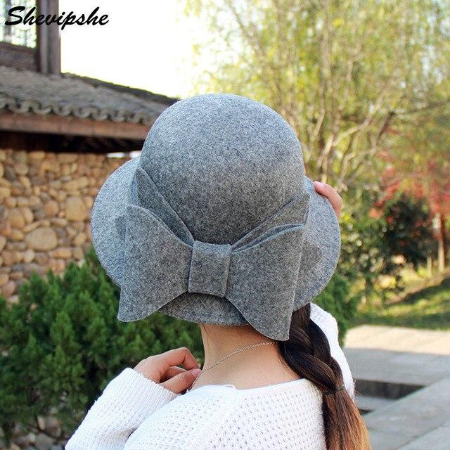 1ecd8c34c706c Shevipshe Women s Chapeu Feminino Fedora Hat Woolen Winter Ladies Fedoras  Top Jazz Hat Sombreros Big Bowknot Bowler Hats Caps