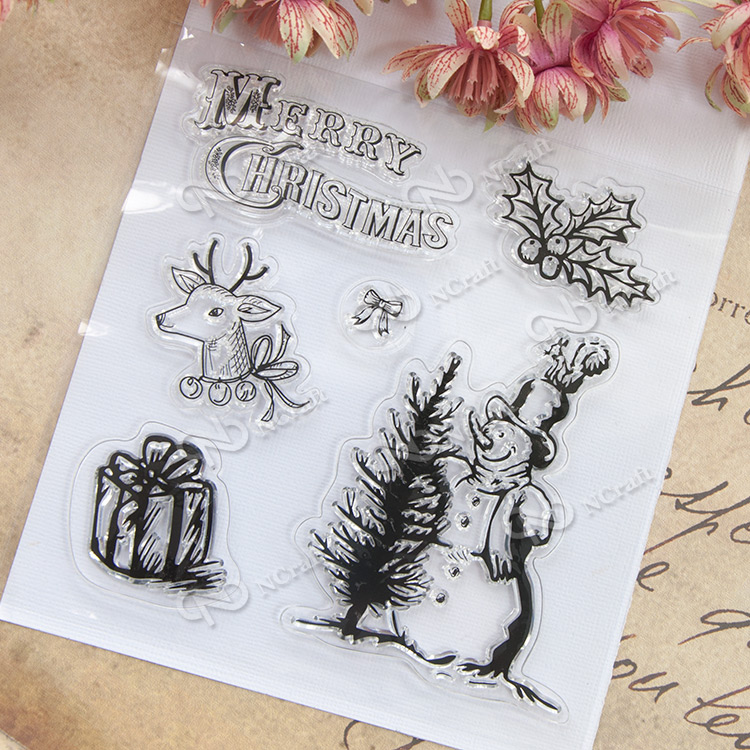 Christmas snowman Transparent Clear Silicone Stamp/Seal for DIY scrapbooking/photo album Decorative clear stamp sheets A287 lovely animals and ballon design transparent clear silicone stamp for diy scrapbooking photo album clear stamp cl 278