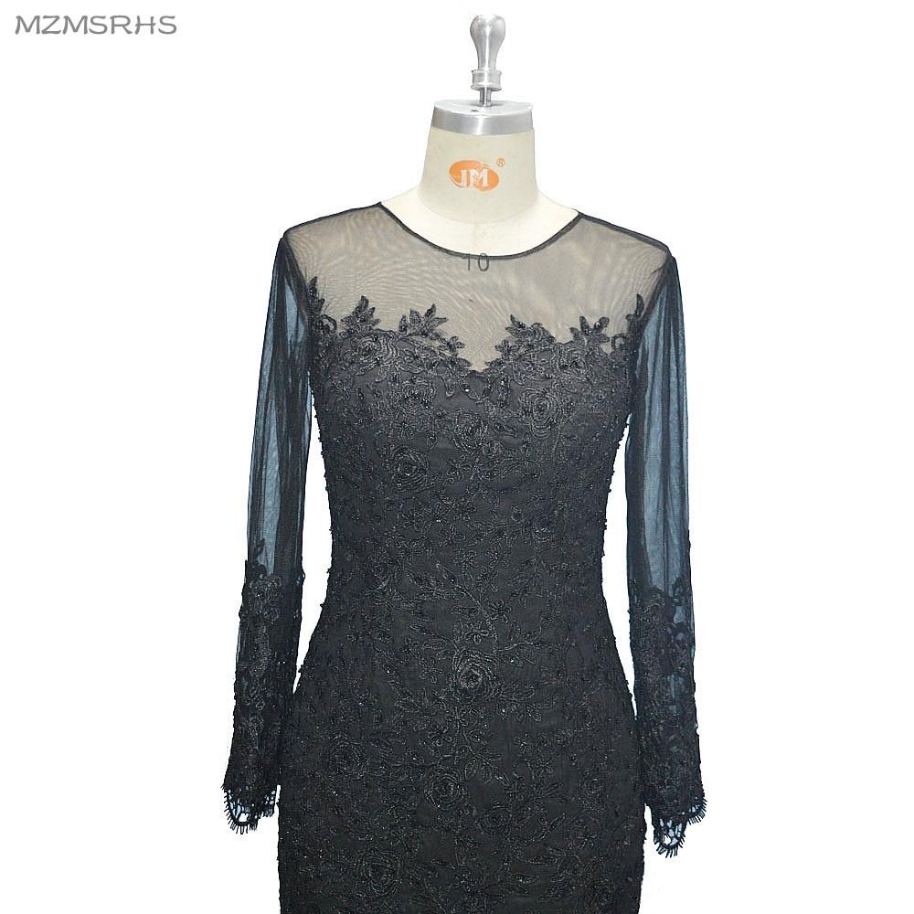Langarm V-Ausschnitt langes Abendkleid Meerjungfrau schwarzer Spitze - Kleider für besondere Anlässe - Foto 4