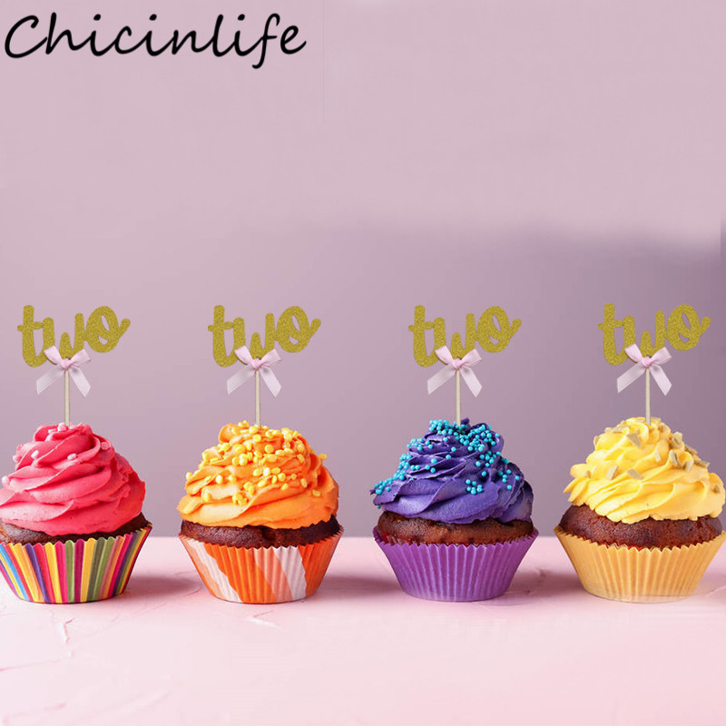 Pleasing Chicinlife 10Pcs 2 Years Old Birthday Cake Cupcake Toppers Baby Funny Birthday Cards Online Elaedamsfinfo