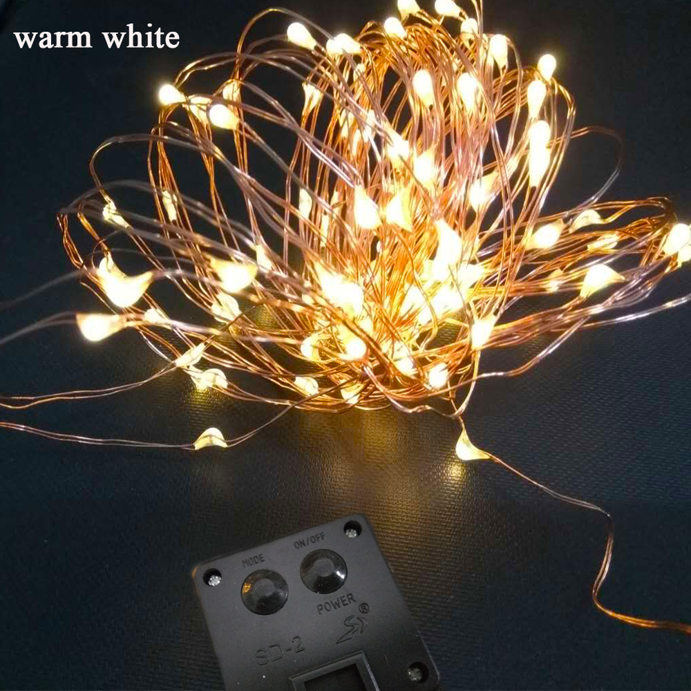 New Solar Powered String Lights 10M 100 LEDs Copper Wire Outdoor Fairy Light for Christmas Garden Home Holiday Decorations