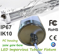 LED Impervious Tubular Fixture PC Housing Outdoor Vertical Installation IK10 IP67 High Resistance To Vibration Corrosion