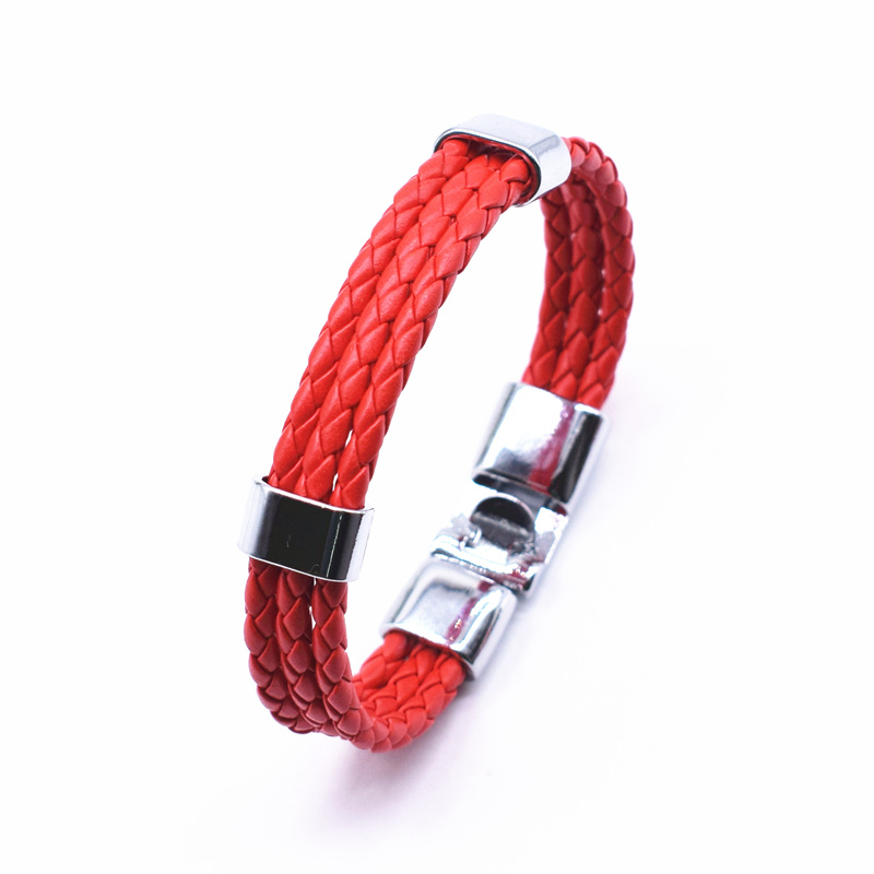 17 Fashion Unisex Jewelry Red String Bracelet 3 Layer Handmade Braided Leather Rope Men Women Hand Strap Charm Bracelet 3