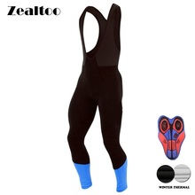 Zealtoo Winter Thermal Fleece Blue Cycling Long Bicycle Bib Pants 9D Gel Pad Bike Bib Tights Mtb Ropa Ciclismo Cycling Trousers недорого