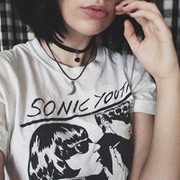 Sonic Youth Album Cover Unisex Vintage Rock T Shirt Women Grunge Fashion White Tee Fashion Summer