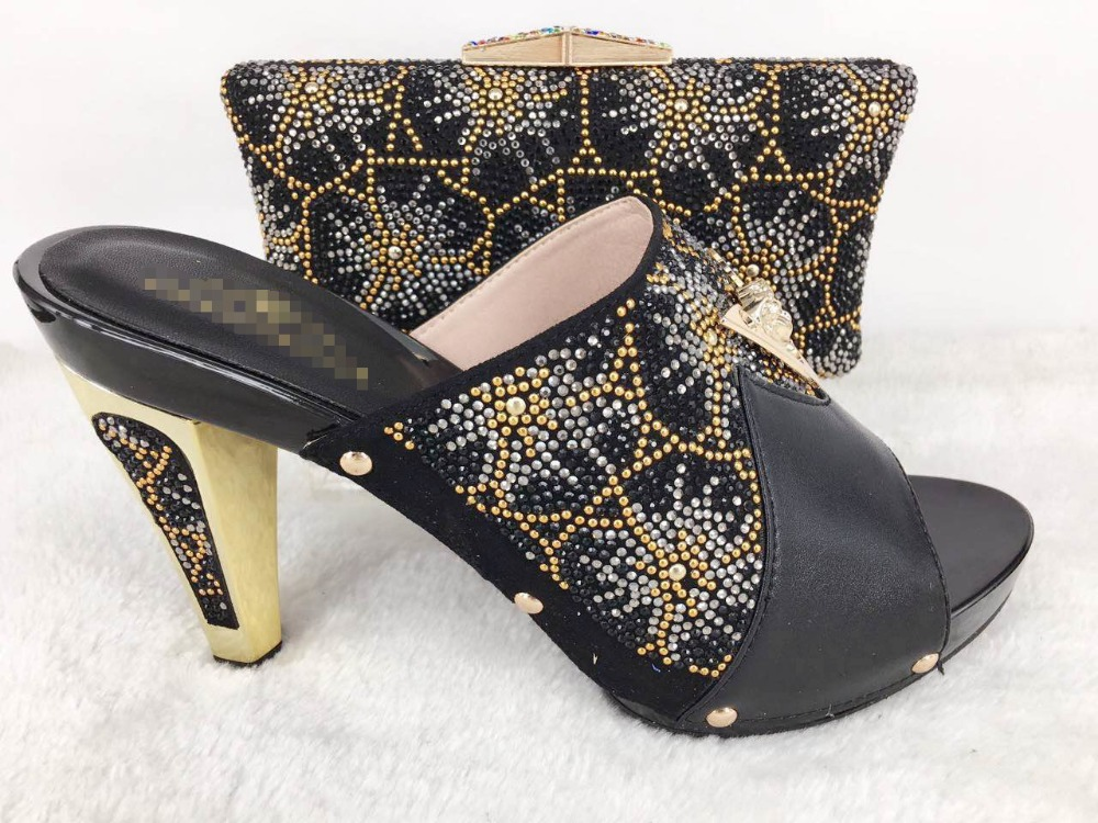 ФОТО Black Shoes and Bag To Match Italian African Wedding Shoe and Bag Sets with Rhinestone Women Shoes and Bag To Match for Parties