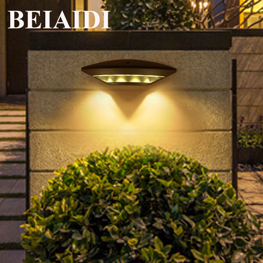 BEIAIDI 12W Waterproof Led Wall Lamp Outdoor Indoor Led Porch Light Modern Aluminum Villa Fence Garden Balcony Gateway Wall Lamp ...
