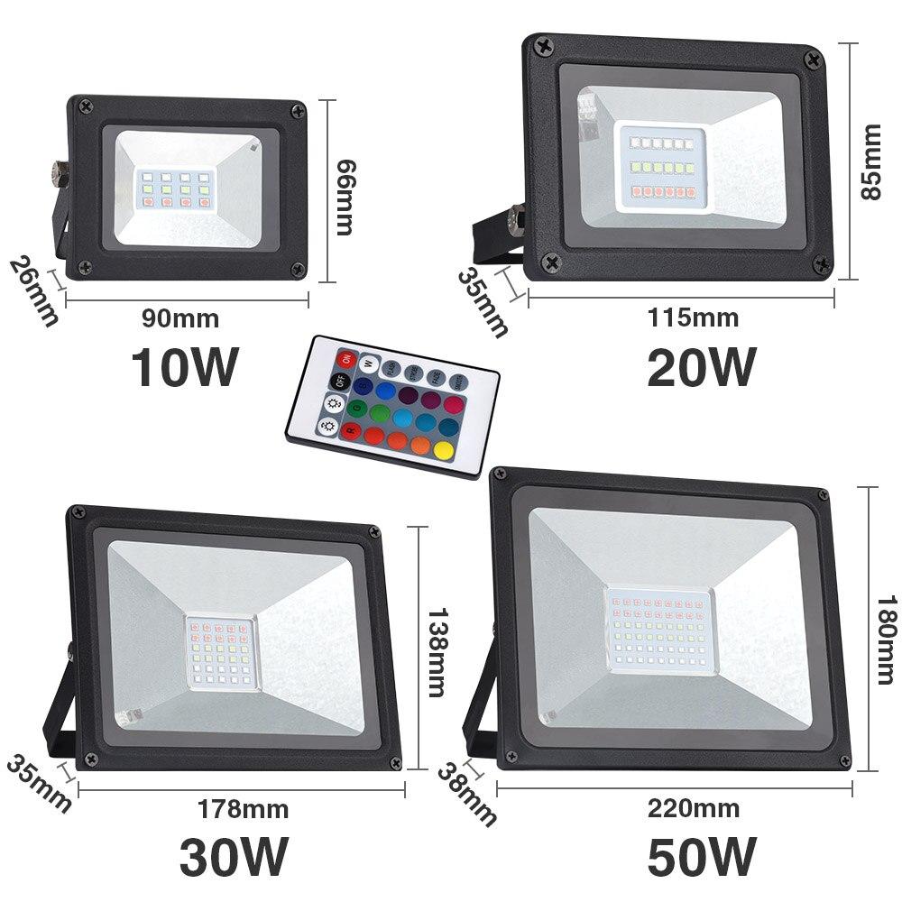 Holofote led 30w 50w 10w 20w rgb/branco frio/branco quente luz de inundação holofote exterior ip65 led luz projetora exterior