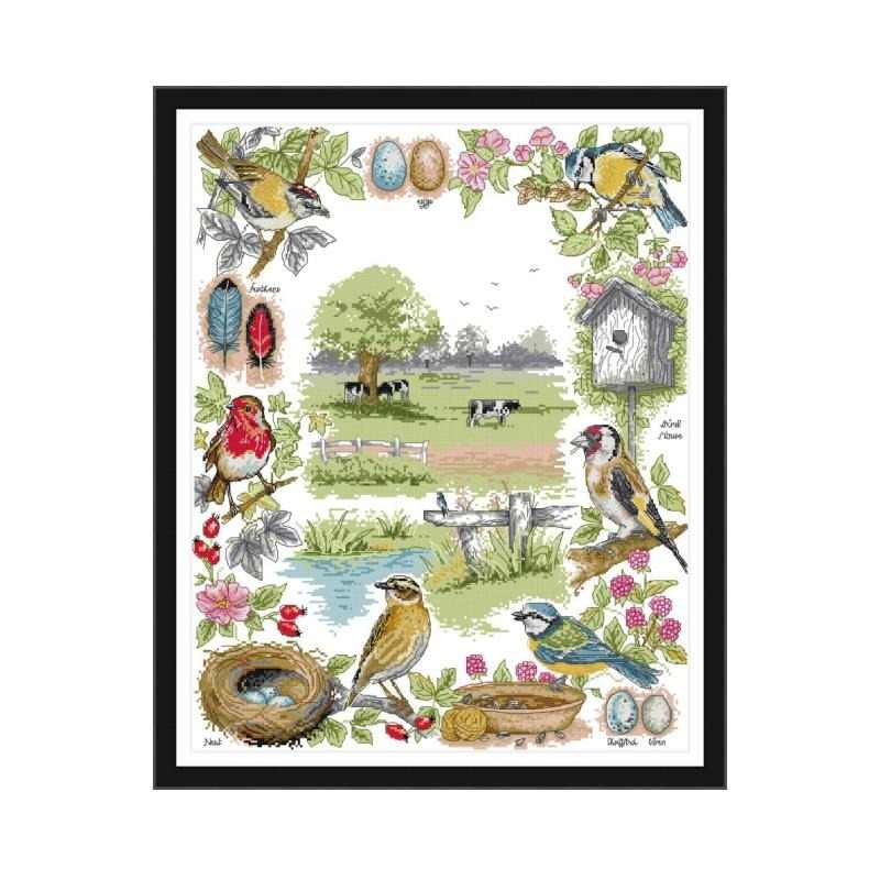 Joy Sunday Birds On The Flowers Aida 14ct Cross Stitch Printed Animal 11ct Canvas Embroidery DMC Kit DIY Handmade Needlework Set