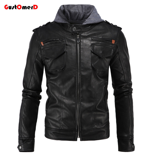 GustOmerD 2016 Winter High Quality Hooded Leather Jacket Men Slim Fit Mens Leather Jacket Motorcycle Jacket Men Asian Size L-4XL