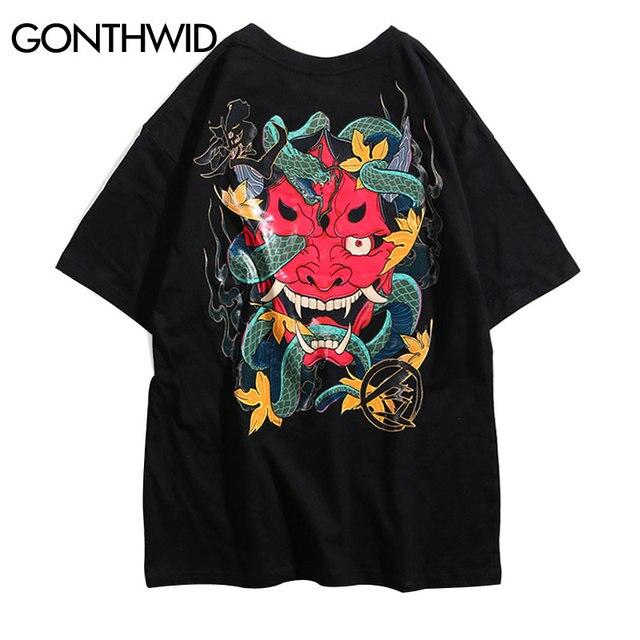GONTHWID Japanischen Teufel Schlange T Shirts Street 2019 Mens Harajuku Hip Hop Casual Kurzarm Tops Tees Männlichen Mode T-shirts