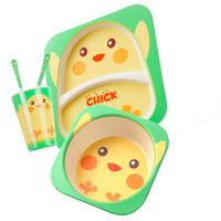 Bamboo fiber tableware for kids bamboo baby bowl set eco friendly unbreakable bamboo dinner sets 5pcs