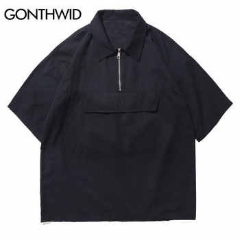 GONTHWID Hip Hop Front Pocket Short Sleeve Shirts Streetwear Men Casual Half Zipper Pullover Shirts Male Turn-down Collar Shirt - DISCOUNT ITEM  46% OFF Men\'s Clothing