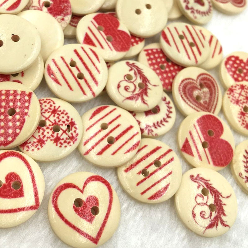 50//100Pcs Heart Star Butterfly Wooden Buttons 2 Holes Sewing Scrapbooking DIY