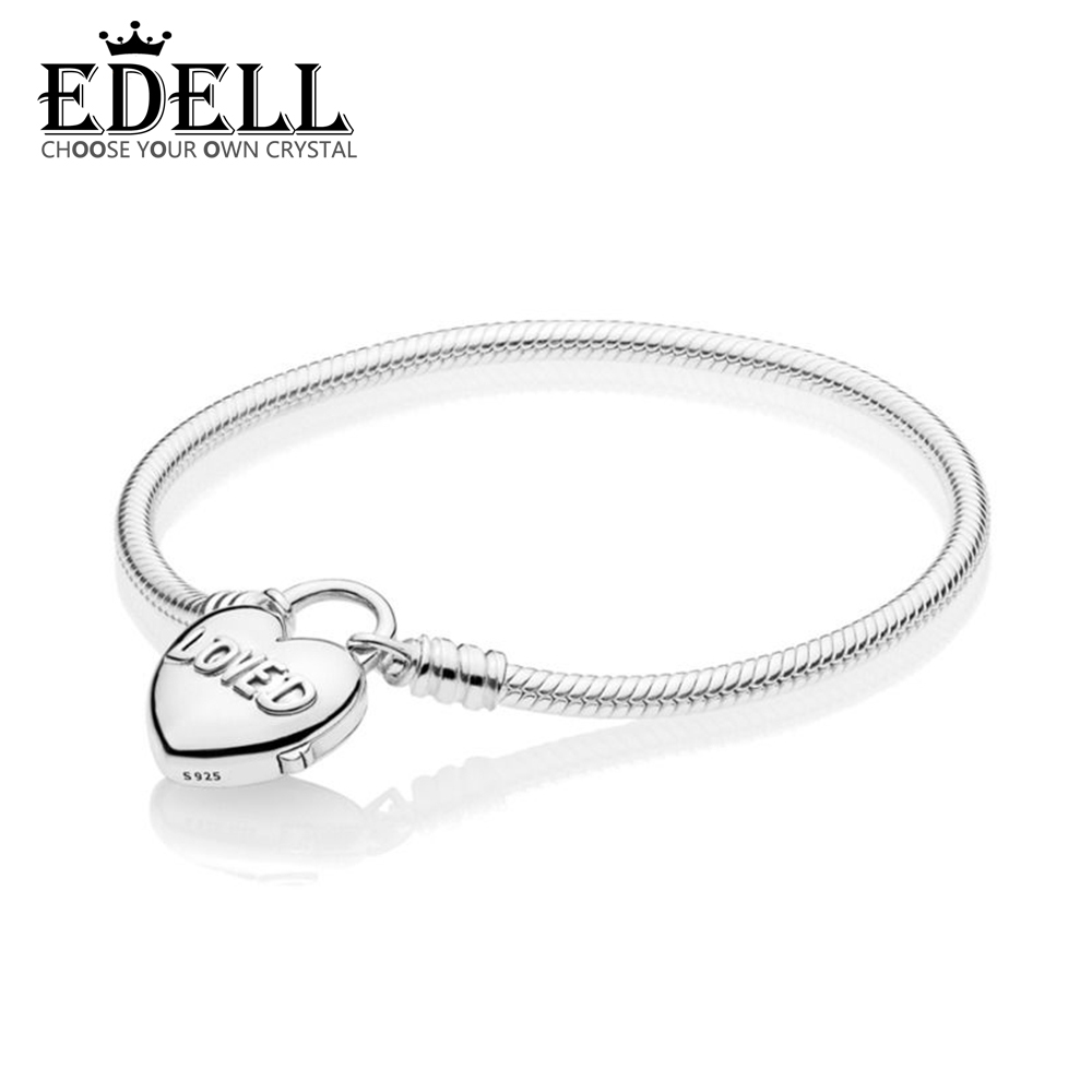EDELL 100% 925 Sterling Silver New 2019 Valentines Day 597806 MOMENTS Smooth Bracelet with Loved Heart Padlock Clasp Gift JeweyEDELL 100% 925 Sterling Silver New 2019 Valentines Day 597806 MOMENTS Smooth Bracelet with Loved Heart Padlock Clasp Gift Jewey