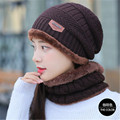 winter new warm girls beanies+scarf sets knit solid color women plush thick caps+ o ring collars suits adult two pc crochet hats