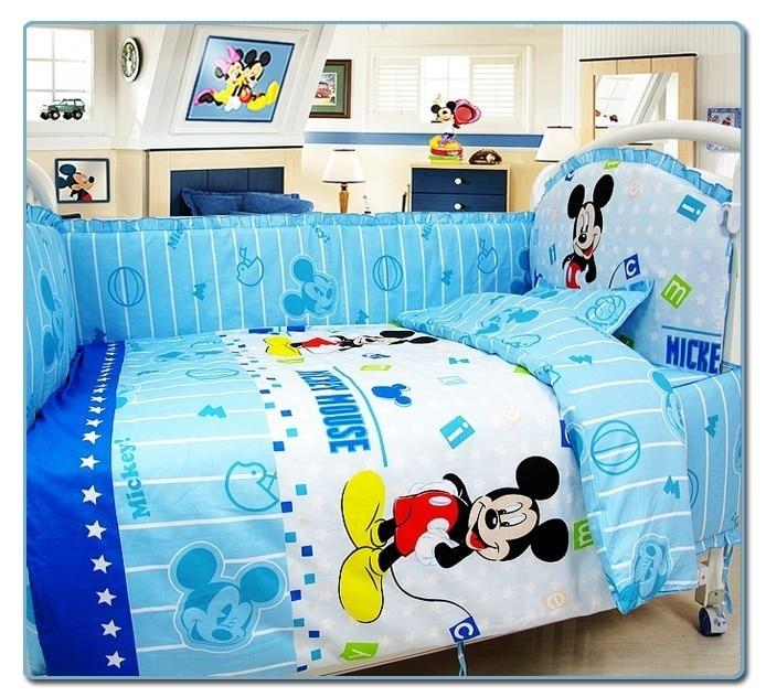 Promotion! 6PCS Cartoon Appliqued Baby Cot Crib Bedding Sets (3bumper+matress+pillow+duvet)