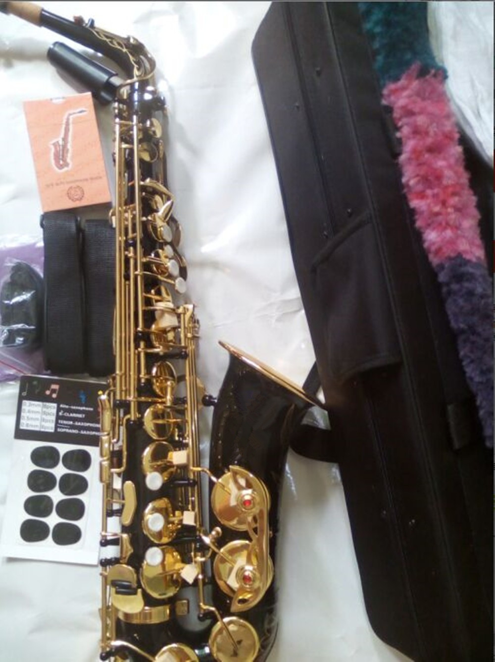 2016 Free NEW EMS DHL 54 Eb Alto Saxophone Professional Black Gold key Instrument Sax super And metal mouthpiece brand new spare parts 20 750 2262c 2r with free dhl ems