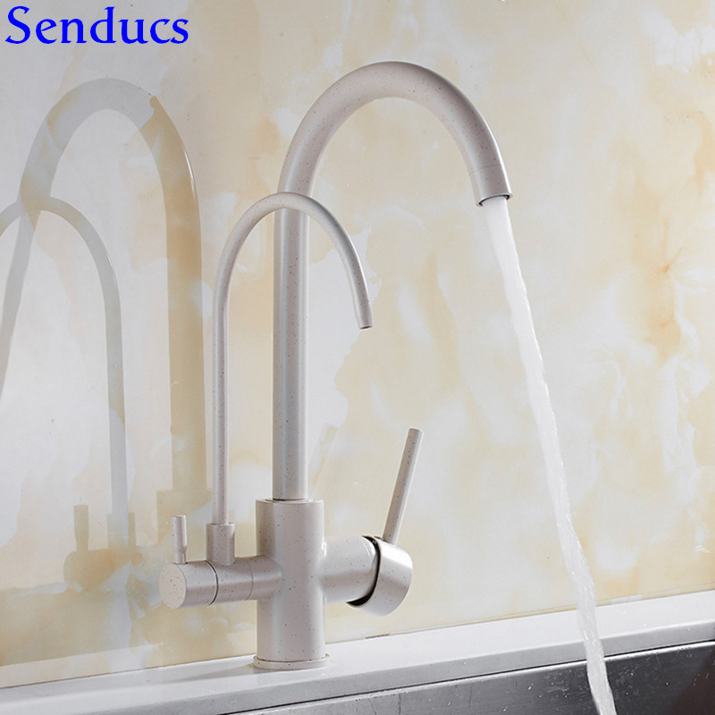 Senducs Black Filter Kitchen Sink Faucet Hot Cold Kitchen Water Mixer Tap Of Brass Kitchen Faucet Three Way Chrome Kitchen Taps
