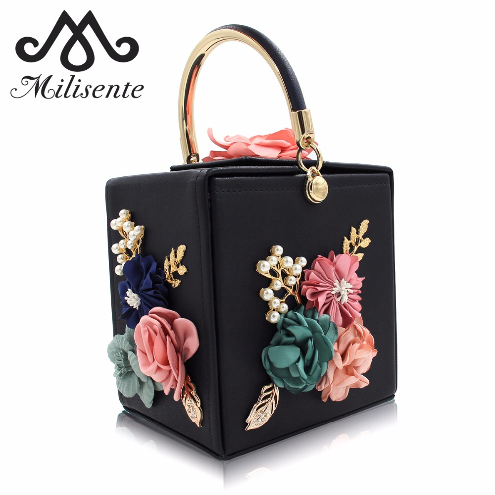Milisente Women Evening Bag Ladies Flower Wedding Clutches Female Pink Black Clutch Purse milisente brand women evening bags top quality fantasy rose party purse clutches wedding bag