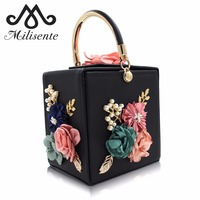 Milisente Women Evening Bag Ladies Flower Wedding Clutches Female Pink Black Clutch Purse