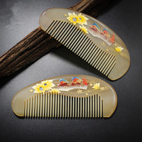 Hand painted lacquer combed sheep horn comb comb massage health comb
