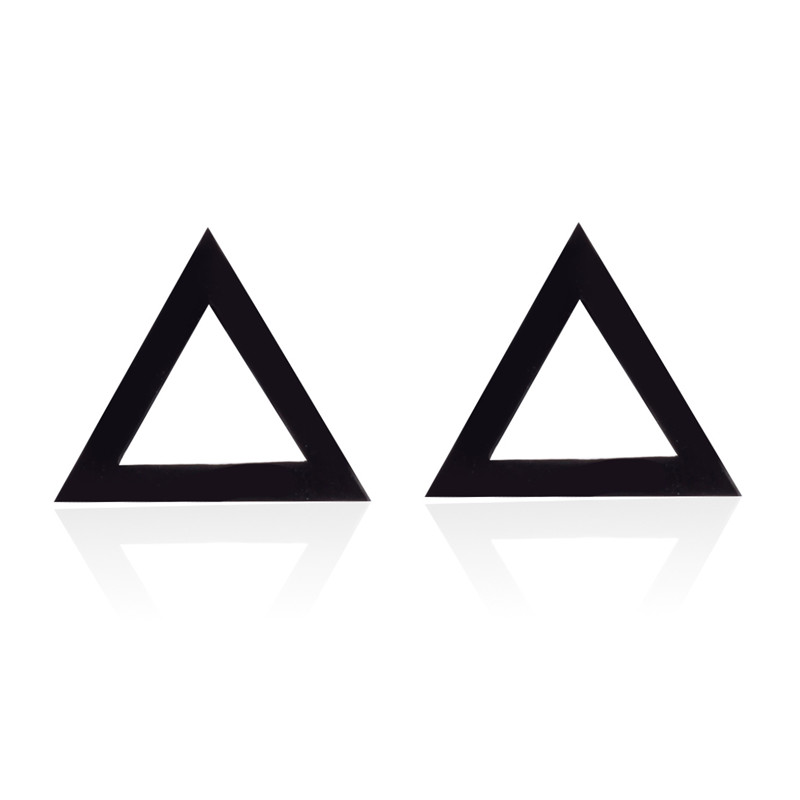 Yiustar Stud Earrings Punk Black Triangle Stainless Steel ...
