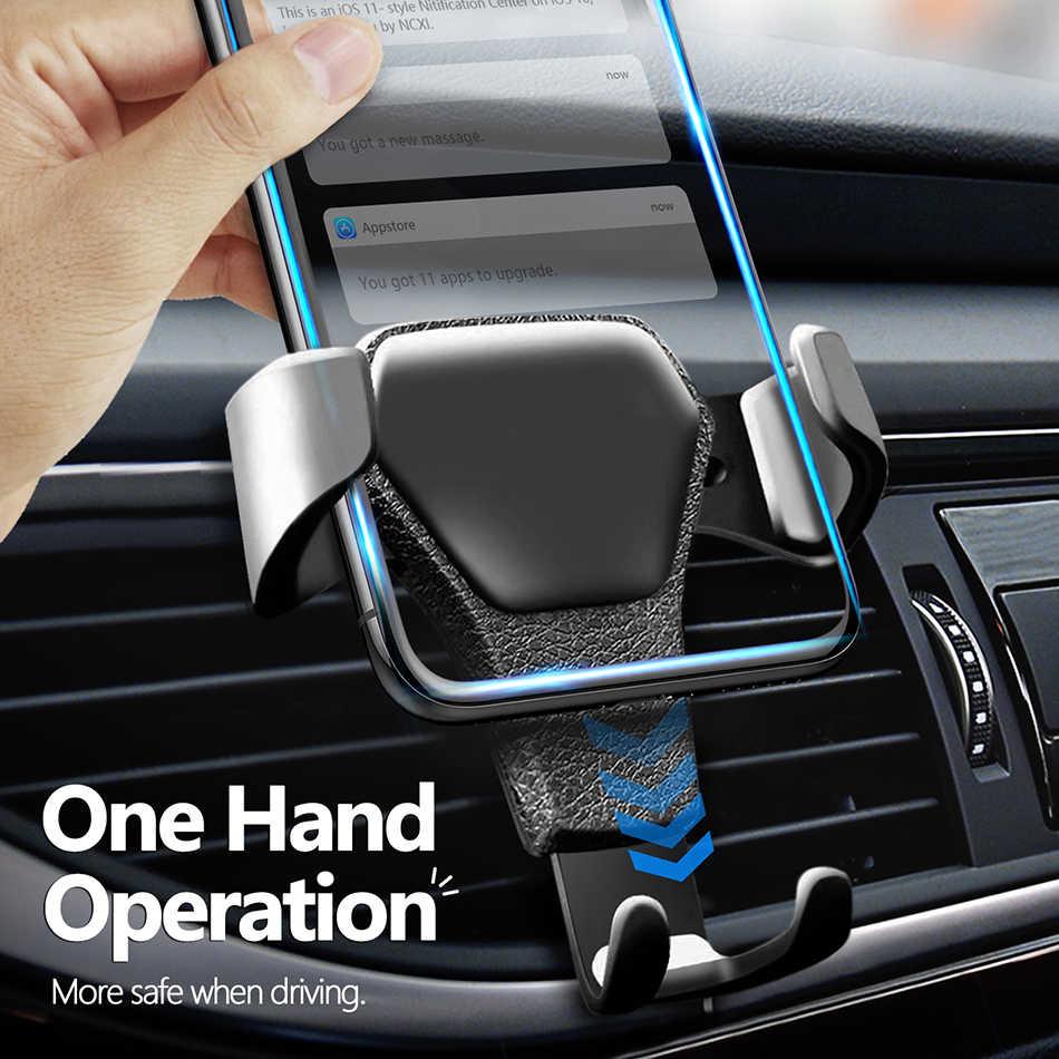 Đa năng Giá Đỡ Điện Thoại Ô Tô Da Trọng Lực Giá Đỡ Kẹp Trên Xe Lỗ Thông Khí Đứng Cho iPhone 8 XS XR Samsung Hỗ Trợ Điện Thoại voiture