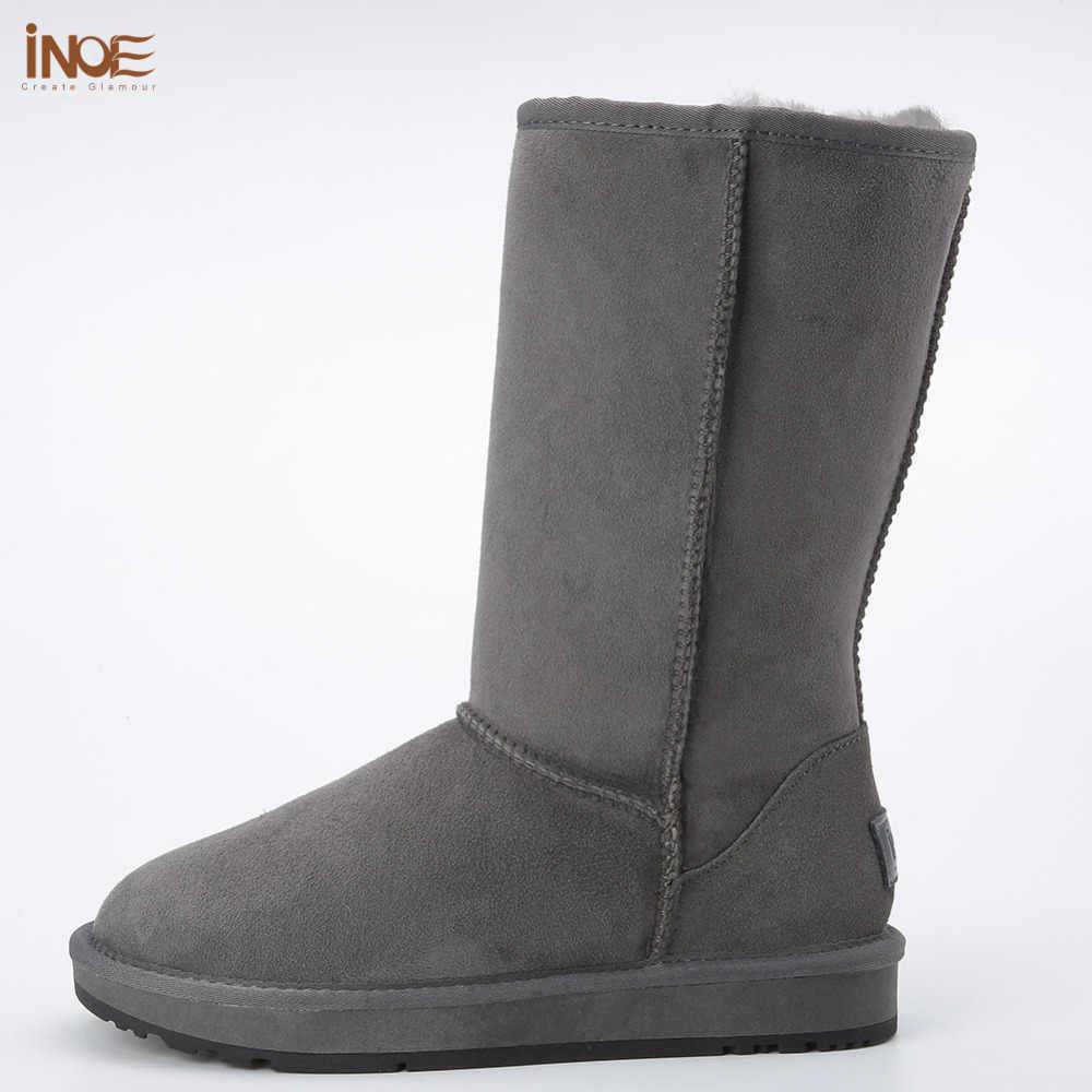 Cổ điển cao man suede bất da lộn da lông lót mùa đông tuyết boots for men giày mùa đông nâu đen cao su duy nhất 38-44