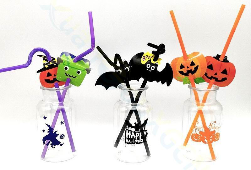 10 PACK HALLOWEEN PLASTIC STRAWS PARTY GHOST WITCH PUMPKIN NEW BLACK DRINKING