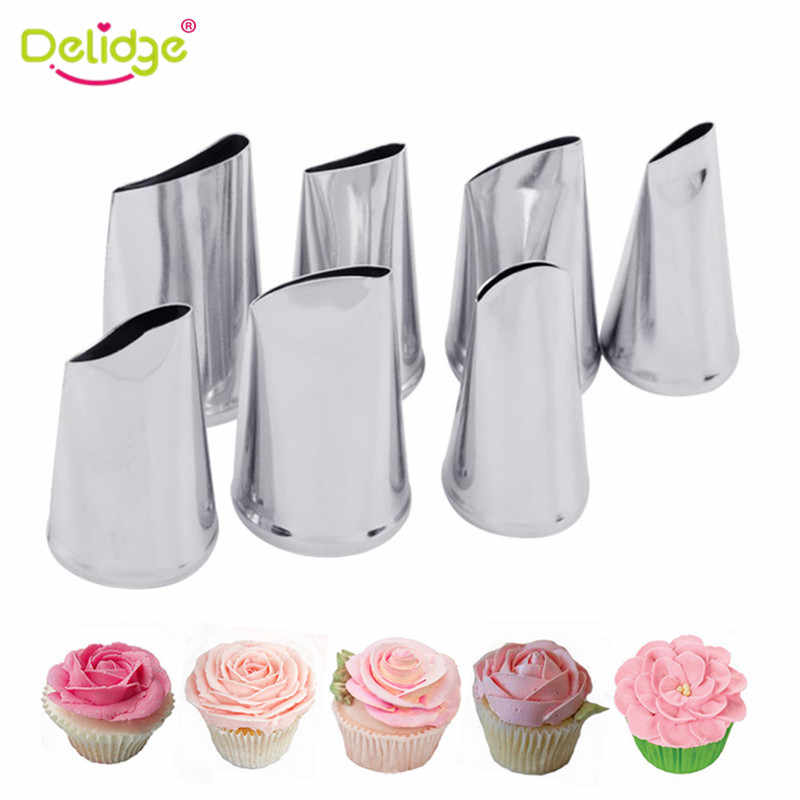 Delidge 7 Pcs/set Kue Dekorasi Tips Set Cream Icing Piping Fondant Rose Nozzle Pastry Alat Fondant Dekorasi Alat