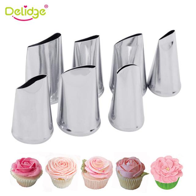 Delidge 7pcs/set Cake Decorating Tips Set Cream Icing Piping Sugarcraft Rose Nozzle Pastry Tools Fondant Decorating Tools