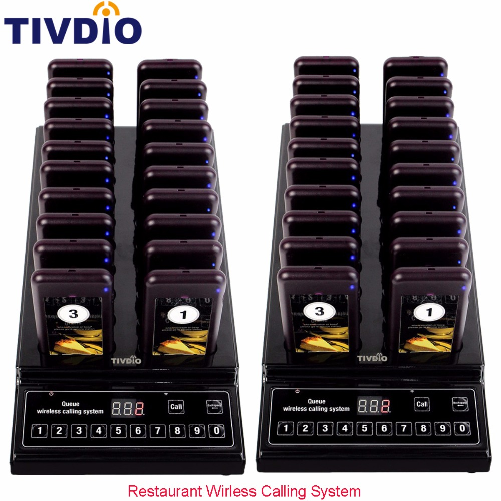 2pcs TIVDIO Restaurant Wireless Calling System 999 Channel Waiter Paging Queuing System 20 Guest Call Coaster Pager F9402A tivdio pager wireless calling system restaurant paging system 1 host display 10 table bells call button customer service f9405b